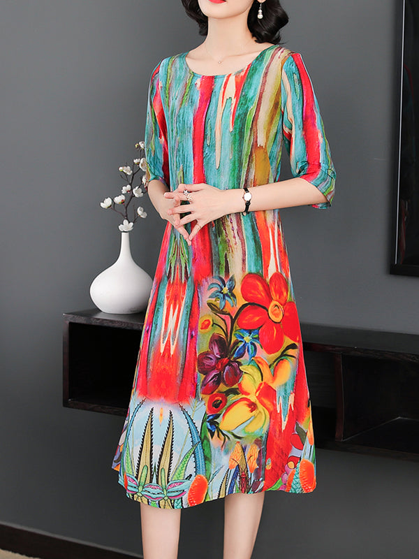 Floral Printed Elegant Crew Neck A-line Half Sleeve Dress