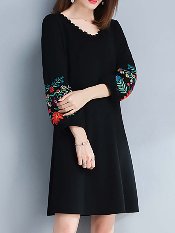 Black Floral Elegant Casual Dress