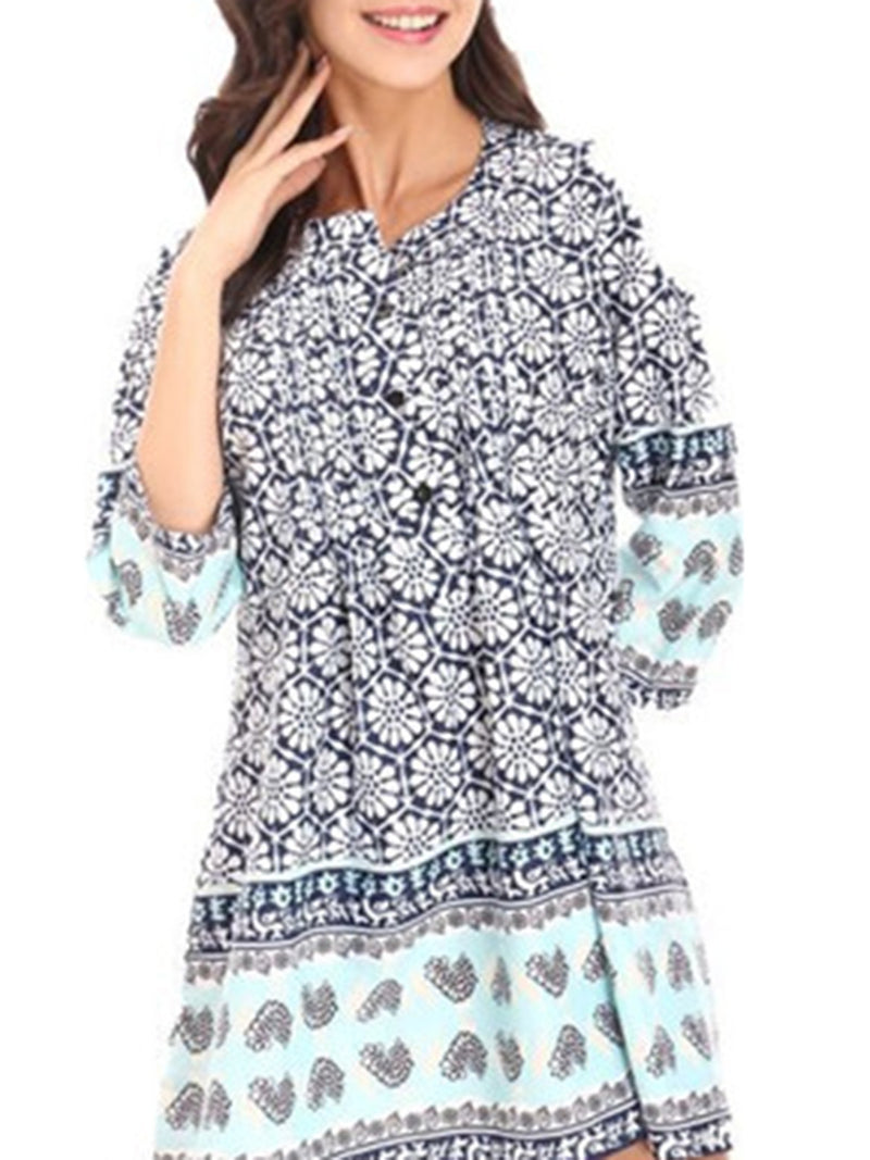 Floral Printed Crew Neck 3/4 Sleeve Folds Casual Tunic