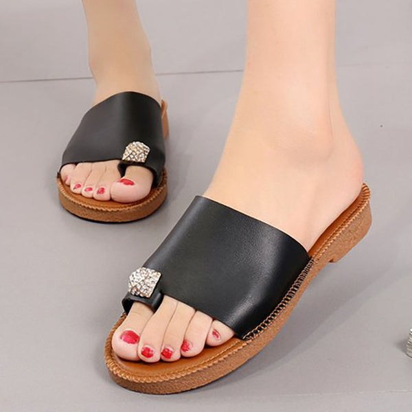 Women PU Casual Comfort Flip Flop Shiny Slippers