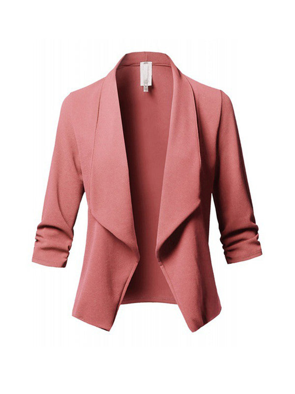 Elegant Solid Color Asymmetric Blazer
