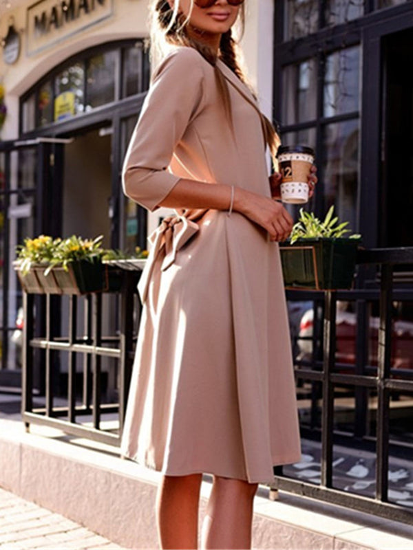 Lapel Slit Solid A-line Elegant Dress