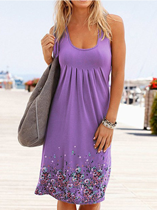 Floral Crew Neck Sleeveless Casual Dress