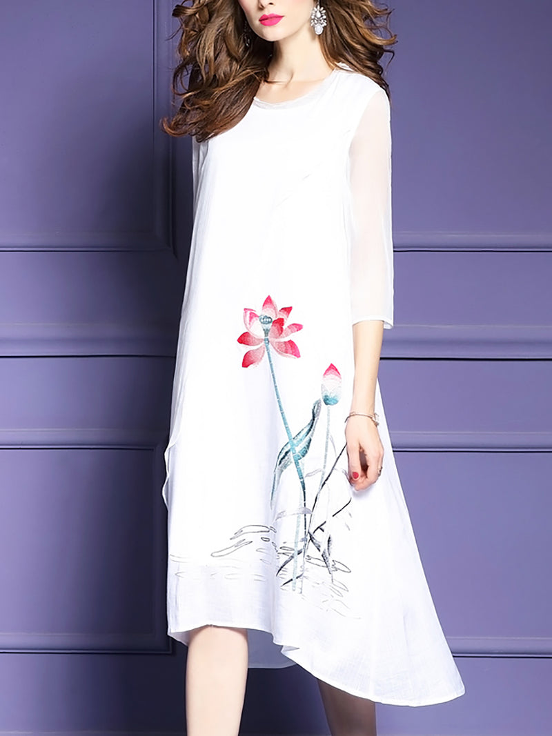 3/4 Sleeve Chiffon Holiday Floral Asymmetrical Midi Dress