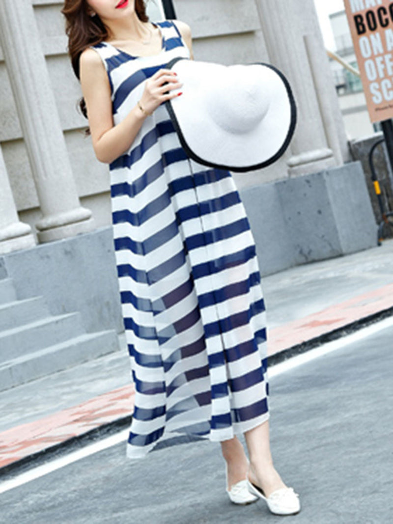 Stripes Printed Resort Crew Neck Chiffon Dress