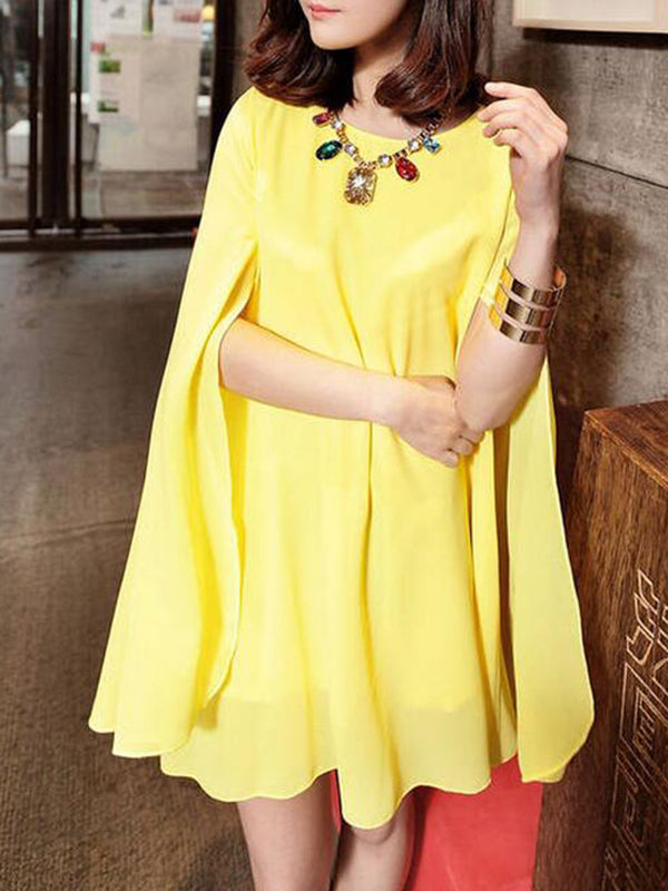 Solid Chiffon Cape Sleeve Plus Size Dress