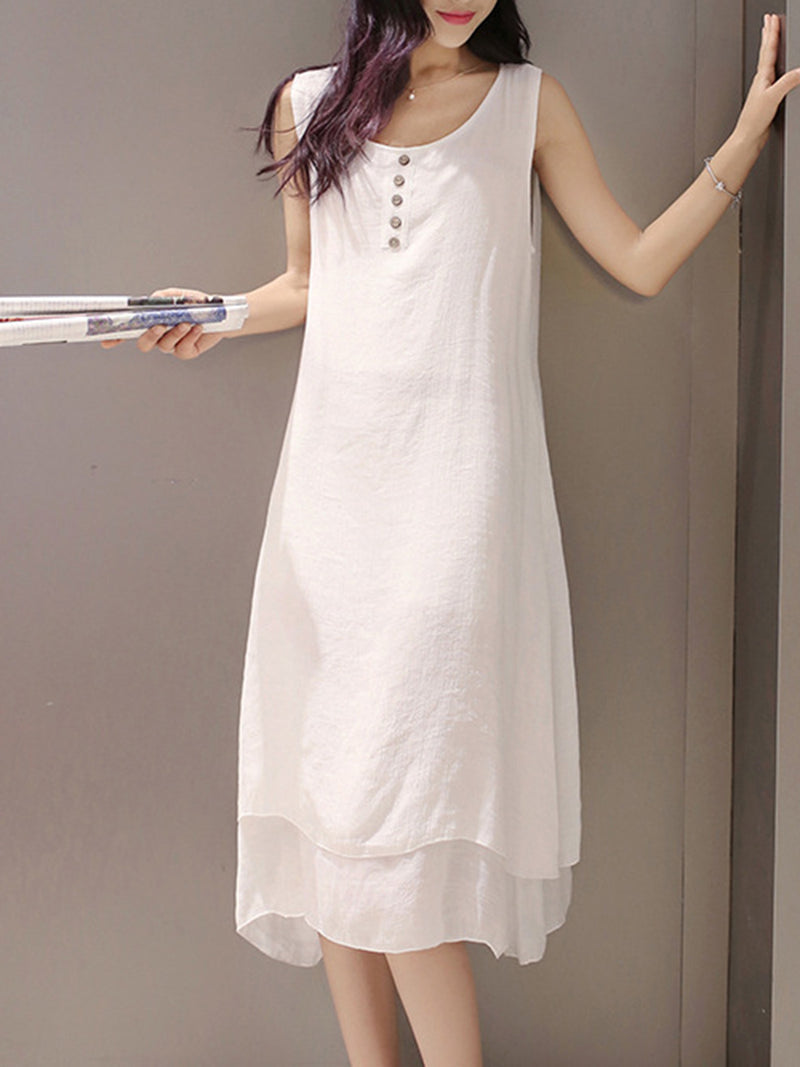 Crew Neck Half Sleeve Two Piece Buttoned Casual Dress