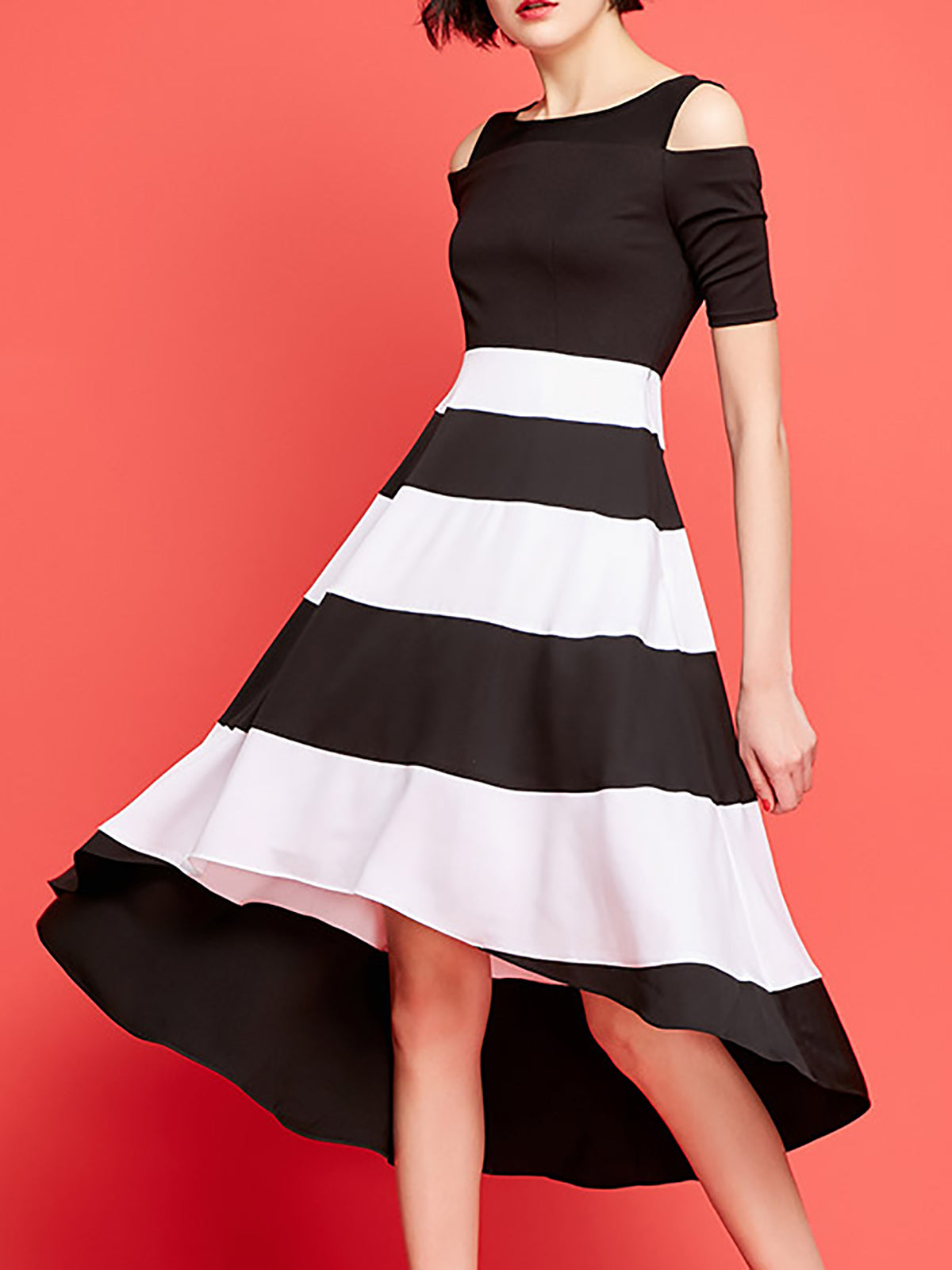 Black Polyester Color-block Work Midi Dress