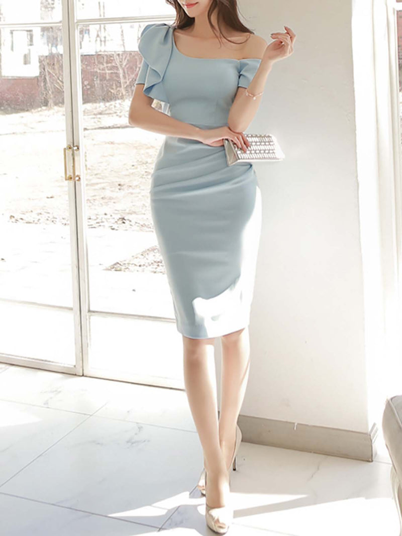 Blue Ruffled Elegant Solid Polyester Midi Dress