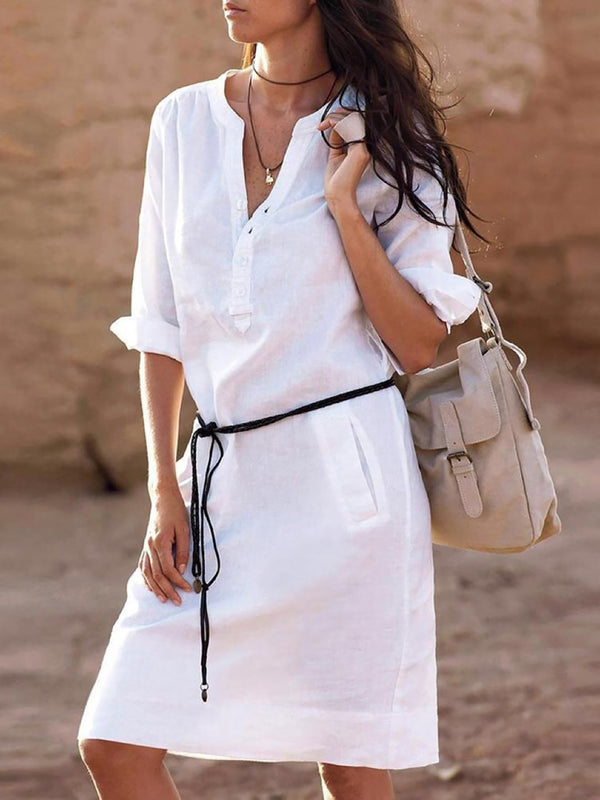 White Linen Basic V-Neck Casual Dress