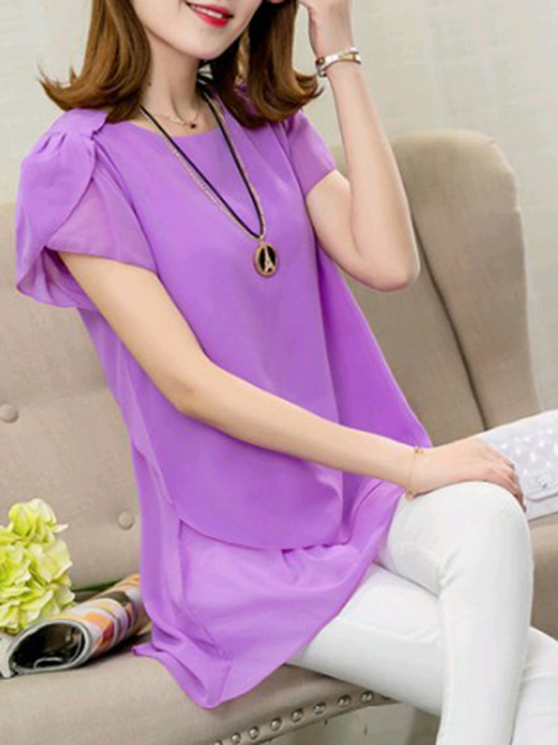 Solid Folds Short Sleeve High Low Plus Size Blouse