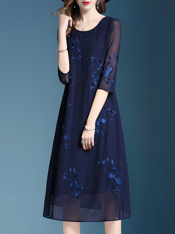 Elegant Floral Half Sleeve Chiffon Midi Dress