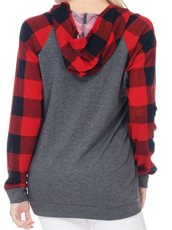 Christmas Hoodie Checkered/plaid Sweet Blouse