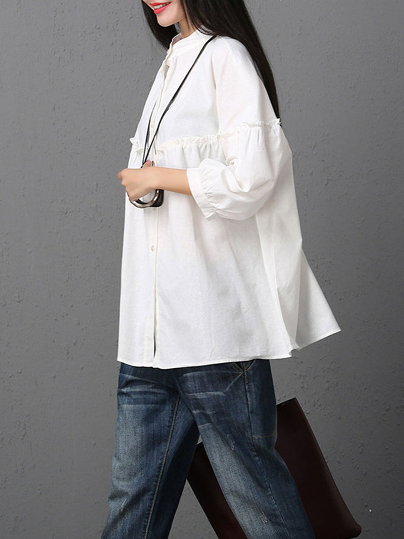 Stand Collar Solid Casual Balloon Sleeve Blouse