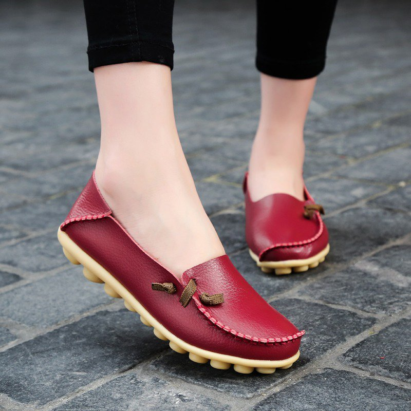 Solid Cowhide Flat Slip-On Women's Loafers