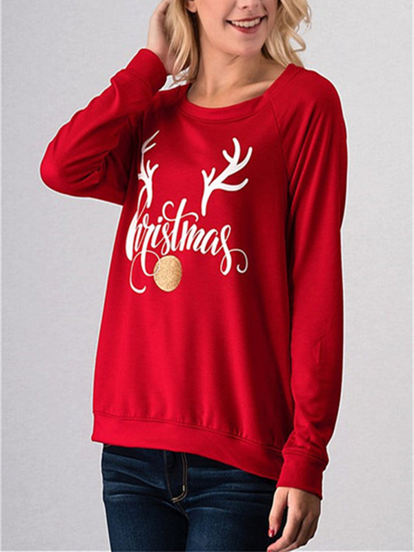 Christmas Letter Prined Shift Long Sleeve Sweatshirt