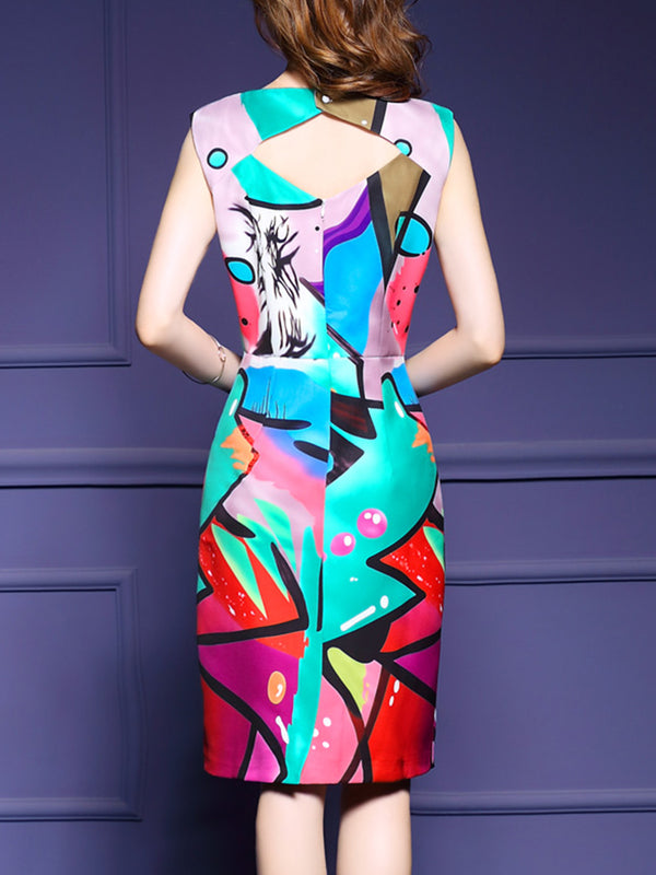 Multicolor Abstract Printed Sleeveless Elegant Dress