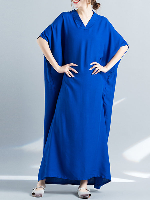 Casual Batwing Solid V-Neck Shift Maxi Dress
