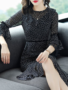 Black Casual A-line Guipure lace Frill Sleeve Chiffon Dress