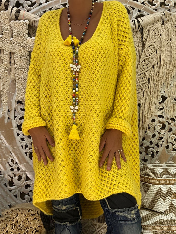Yellow Acrylic Long Sleeve Shift Knitted Dress