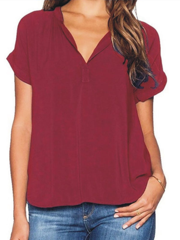 Short Sleeve V Neck Casual Plain Shirt
