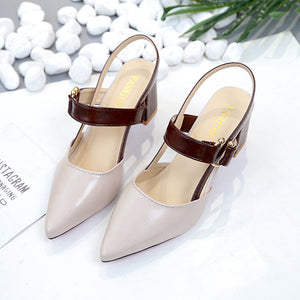 Dress PU Pointed Toe Chunky Heel Buckle Sandals