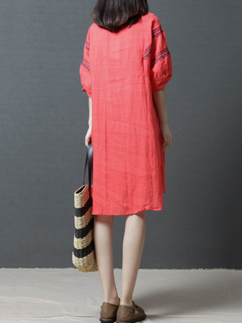 Embroidered Shift Linen Half Sleeve Plus Size Dress