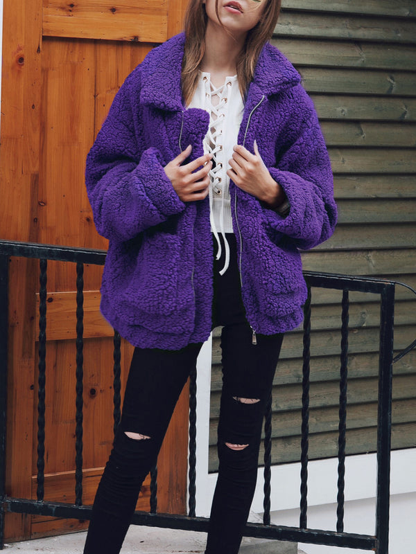 Long Sleeve Stand Collar Fluffy Zipper Coat