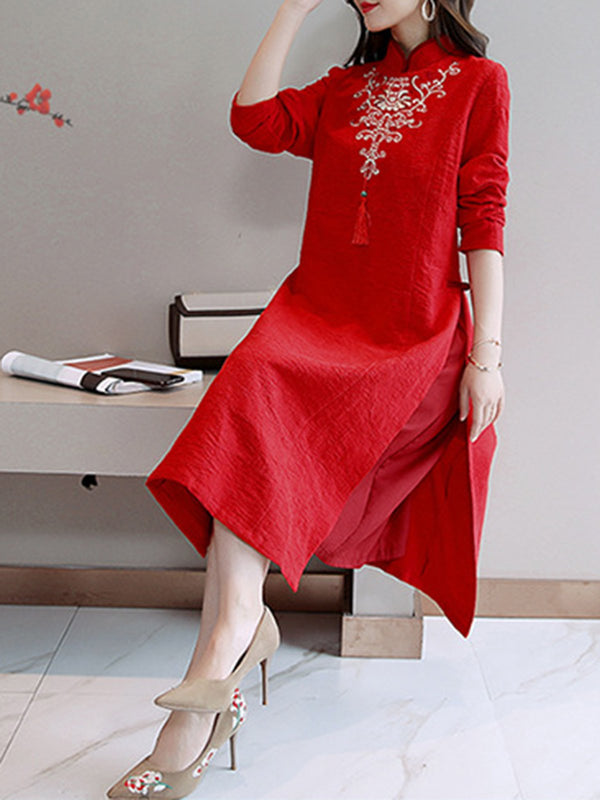 Date Slit Stand-Up Neck Elegant Fringed  Long Sleeve Dress