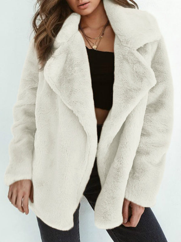 Faux fur Solid Shawl Neck Fluffy Winter Coat