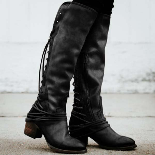 e789eaf4364 ... Women Vintage Lace Up European Style Bandage Above Knee Boots ...