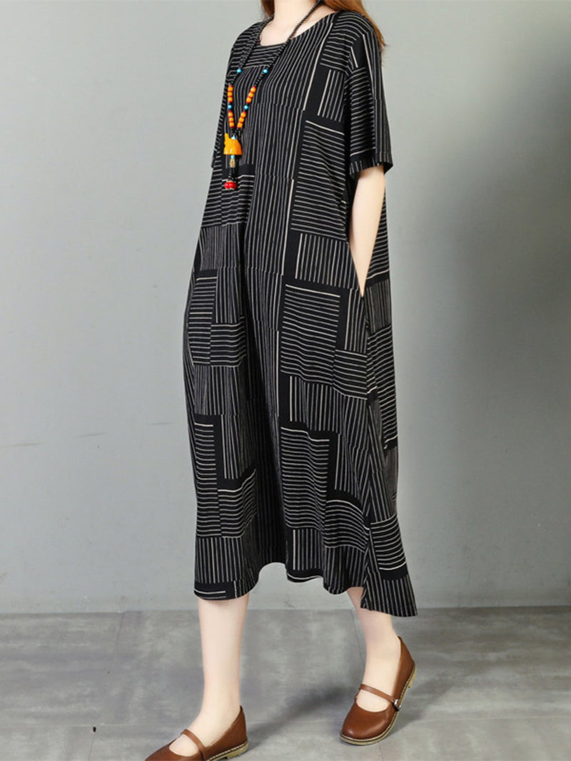 Geometric Printed Crew Neck Casual Pockets Midi Dress