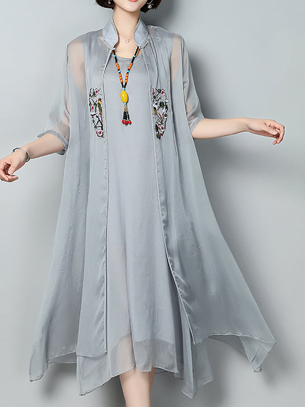 Casual Stand Collar Two Piece Chiffon Dress