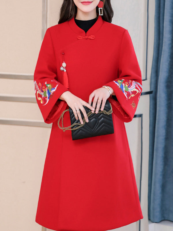 Red Floral Stand-Up Neck Bell Sleeve Elegant Embroidered Dress