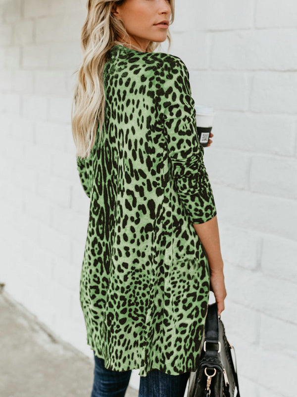 Leopard Long Sleeve Printed Knitted Leopard Print Cardigan