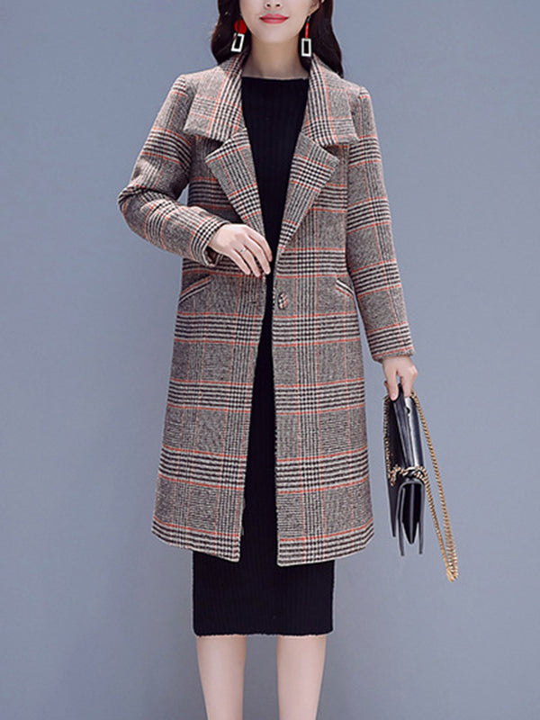 Checkered Elegant Shift Buttoned Pockets Coat