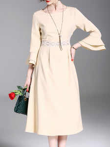 Apricot Paneled Elegant A-line Frill Sleeve Dress