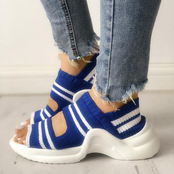 Color Block Comfort Daily Knitted Fabric Sandals