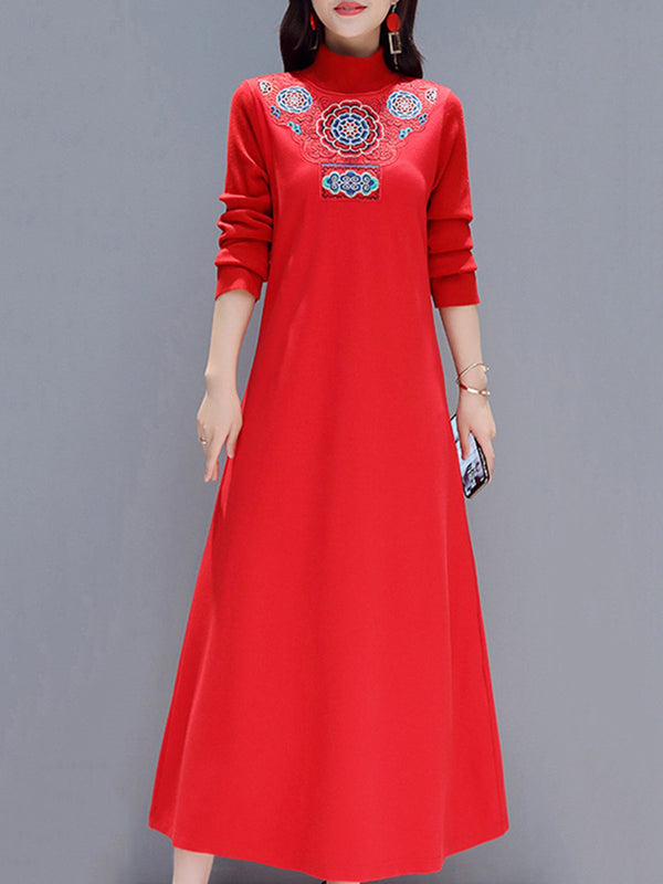 Embroidered Long Sleeve Shift Turtleneck Cotton-Blend Maxi Dress