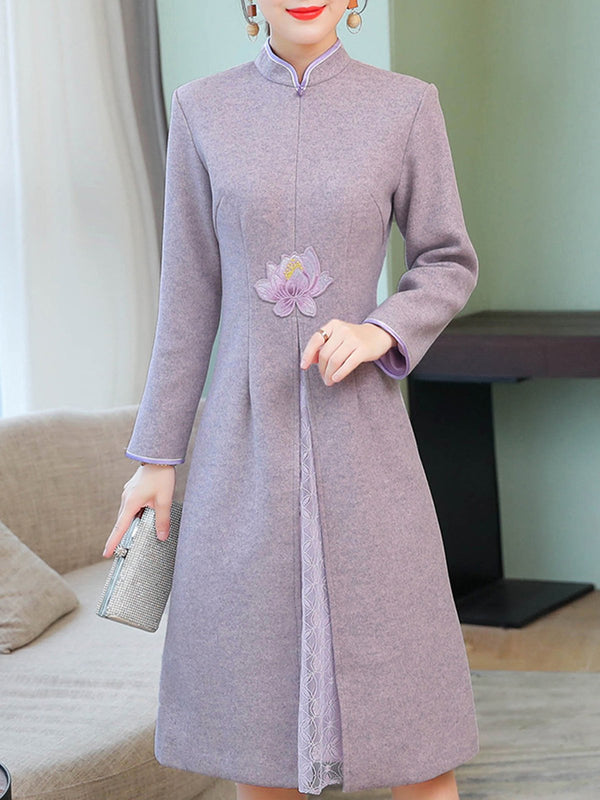 Purple Elegant Long Sleeve Embroidered Floral Slit Dress