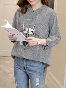 3/4 Sleeve Crew Neck Cat Embroidered Strips Blouse