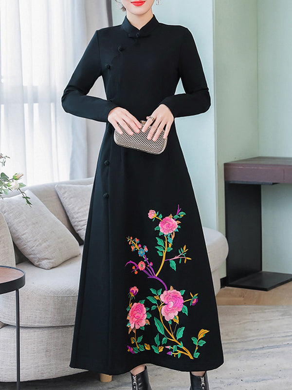 Black Embroidered Long Sleeve Shift Elegant Dress