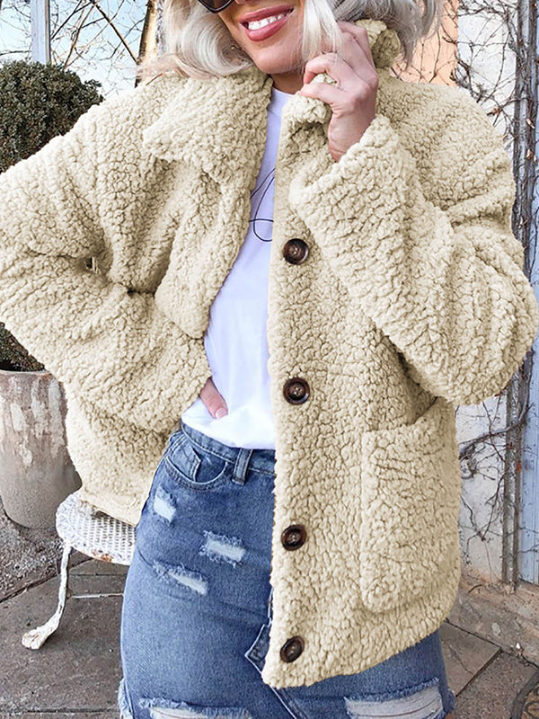Long Sleeve Polyester Fibre Lapel Casual Coat
