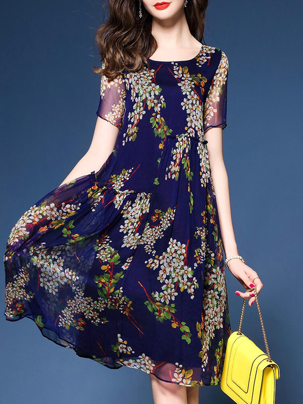 Floral Crew Neck A-line Short Sleeve Elegant Dress