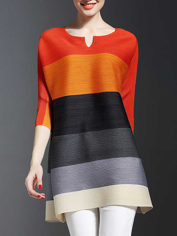 Color-block Casual 3/4 Sleeve Tunic