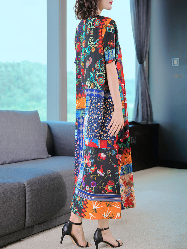 Multicolor Patchwork Short Sleeve Printed Dress
