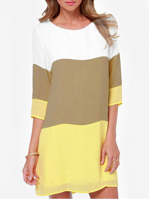 3/4 Sleeve Color-block Plus Size Dress