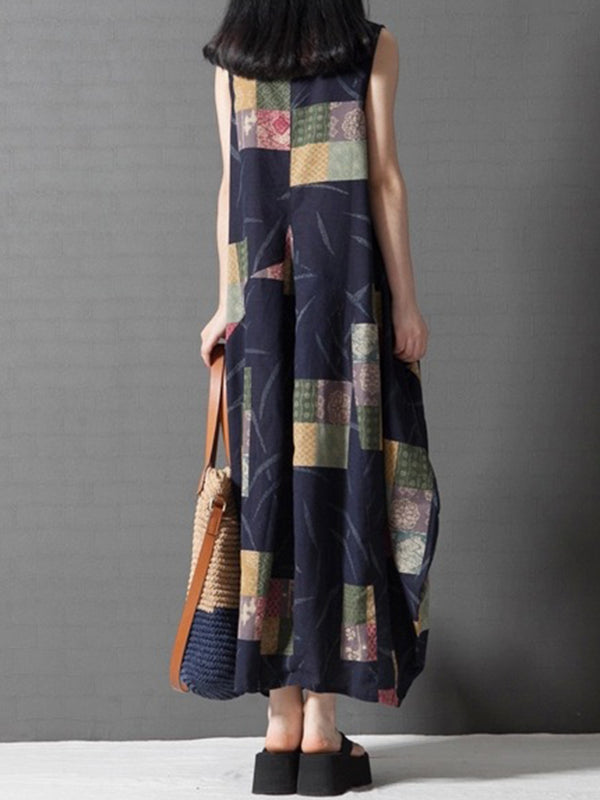 Printed Casual Sleeveless Cocoon Linen Dress