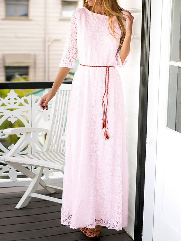 Pink Casual Crew Neck Lace Fall Dress
