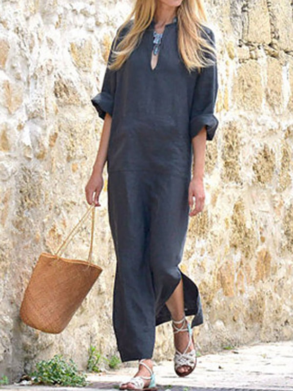 V neck Solid Casual Long Sleeve Dress